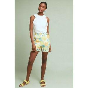 New Anthropologie Costanza Silk Shorts Yellow Sz 8